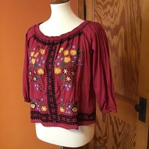 Embroidered boho hippie chic peasant top shirt